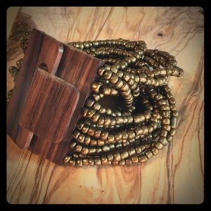 Bead and Wood Cuff Bracelet